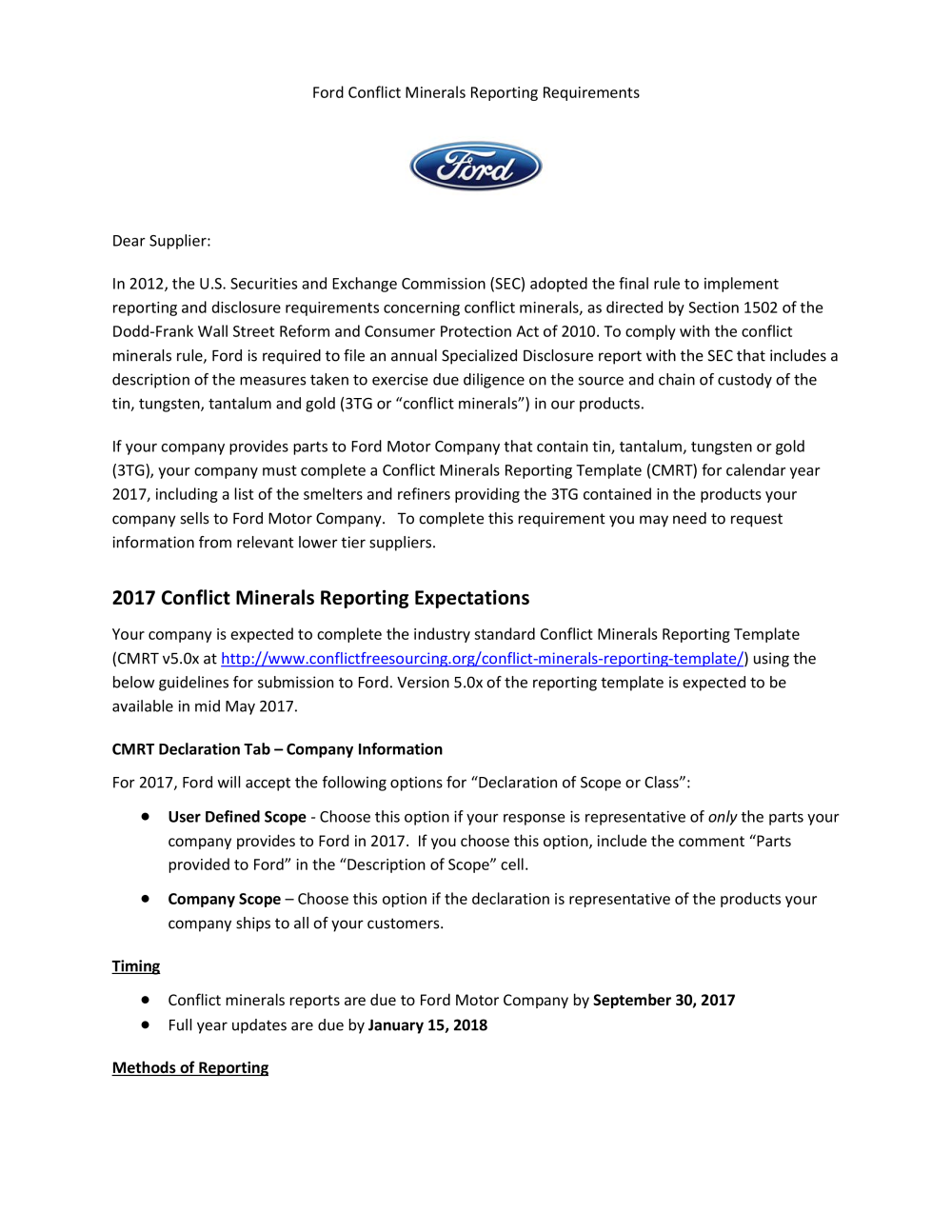 Documents And Media Ford Supplier Portal